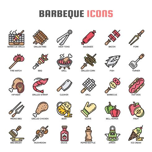 Barbeque Thin Line Icons vector