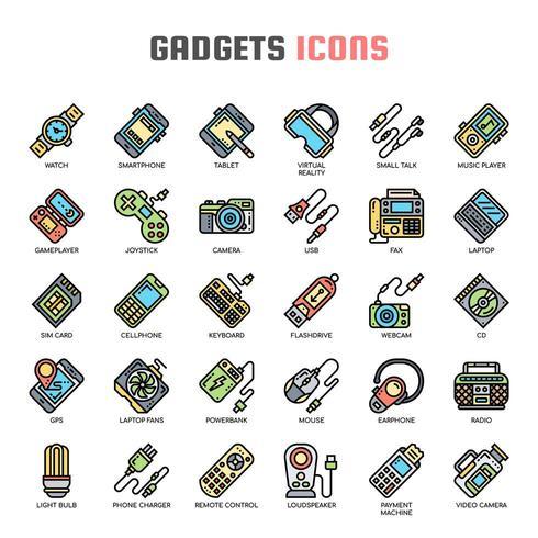 Iconos de línea fina de gadget vector