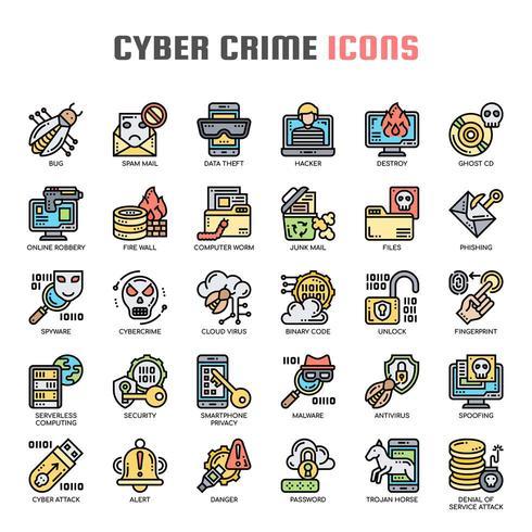 Iconos de delgada línea de delito cibernético vector