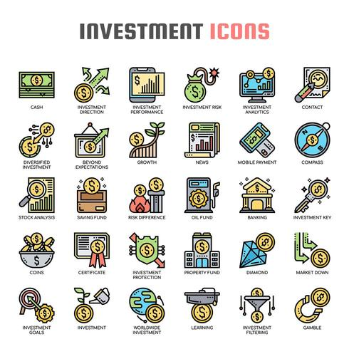 Investment Thin Line Color Icons
