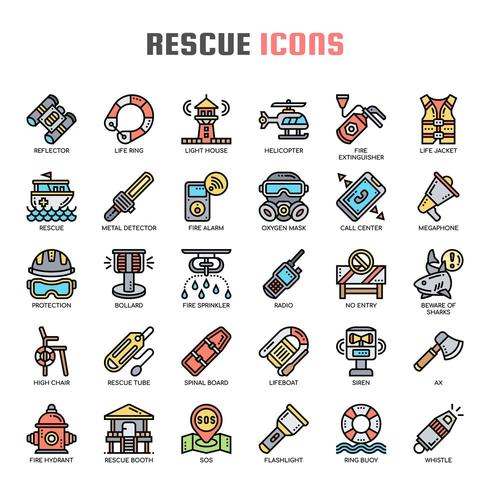Rescue Thin LineIcons vector