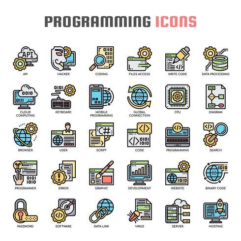 Programmera tunn linje ikoner vektor