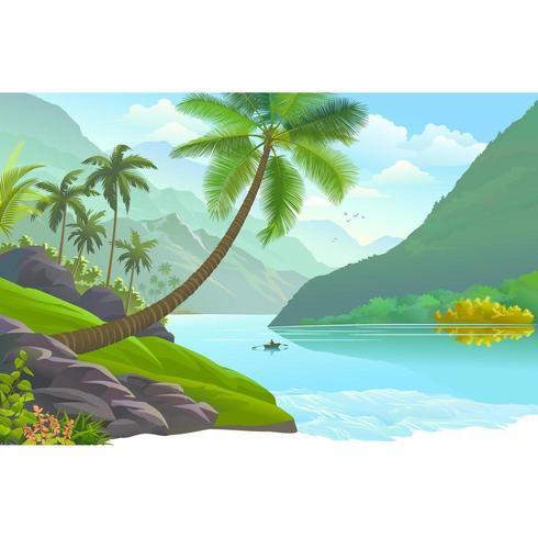 Palm Tree Near The River