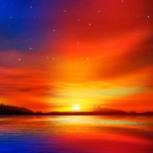 Pôr do sol quente sobre o lago