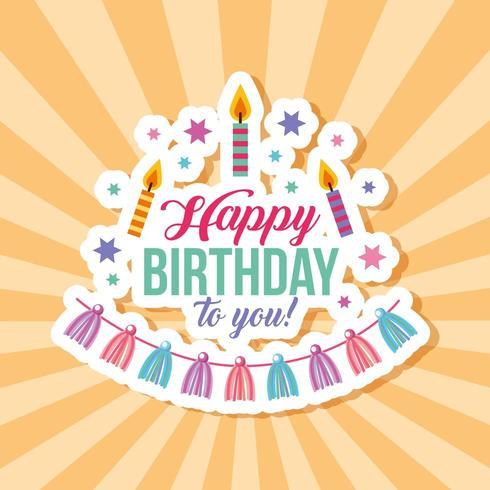cartão de feliz aniversário com velas e borlas no padrão de raio