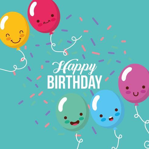 cartão de feliz aniversário com balões kawaii