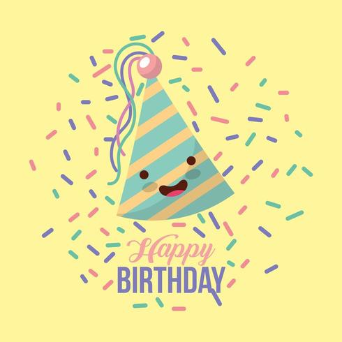 Tarjeta de feliz cumpleaños con gorro de fiesta kawaii y confeti vector