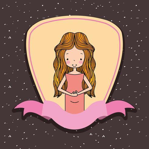 mulher bonita grávida na decoração de fita de etiqueta
