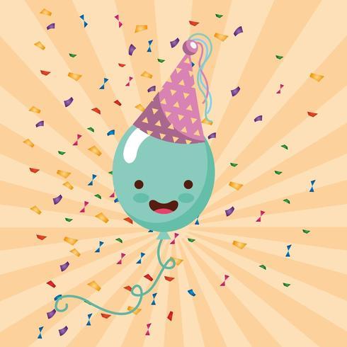 cartão de feliz aniversário com balão kawaii no chapéu de festa