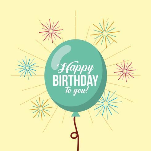 tarjeta de feliz cumpleaños con globos y fuegos artificiales