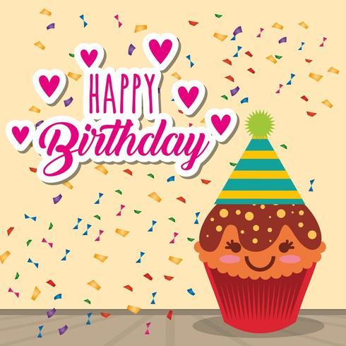 cartão de feliz aniversário com cupcake kawaii e confetes