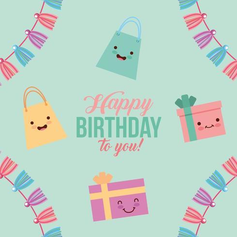 cartão de feliz aniversário com presentes kawaii