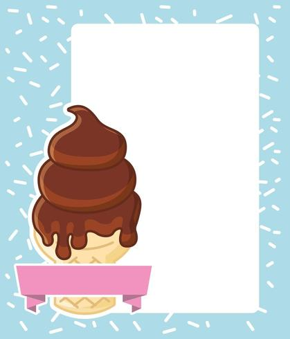 ice cream cone with banner on paper with space for text
