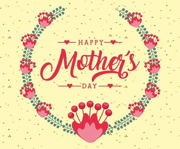 tarjeta del día de las madres con corona floral vector