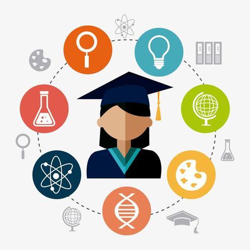 Diseño de graduación estudiantil vector