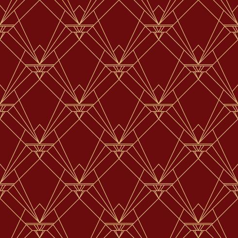 Padrão elegante simples art deco sem costura padrão marrom vermelho