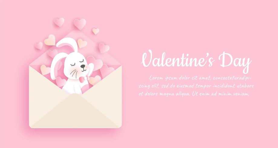 San Valentino Bunny Letter Background