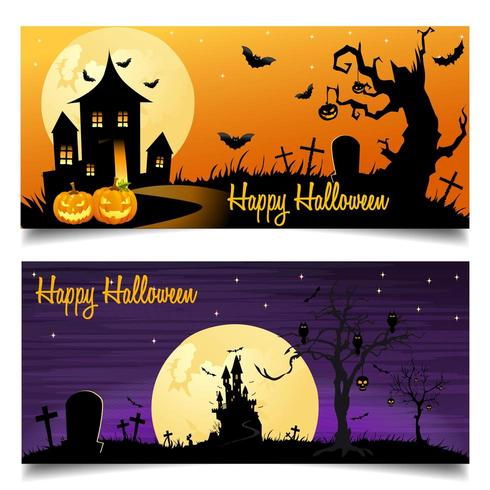 Happy Halloween card background with castle and bats