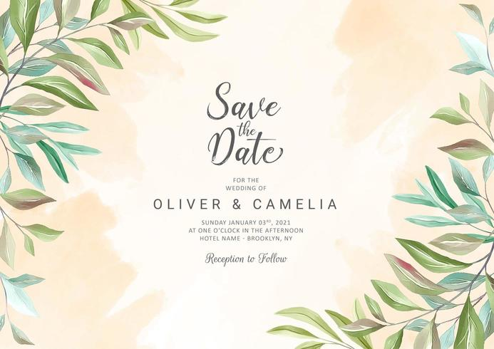 Plantilla de tarjeta de invitación de boda de vegetación botánica vector
