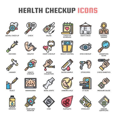 Ícones de linha fina de exame de saúde