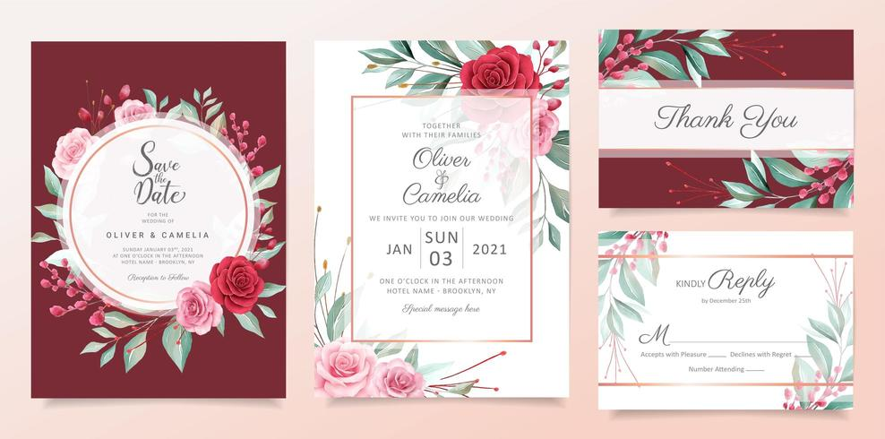 Red floral wedding invitation card template set with watercolor flowers arrangements vector
