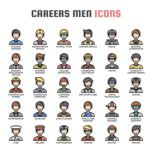 Ícones de linha fina de homens de carreiras