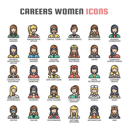 Careers Women Thin Line Icons