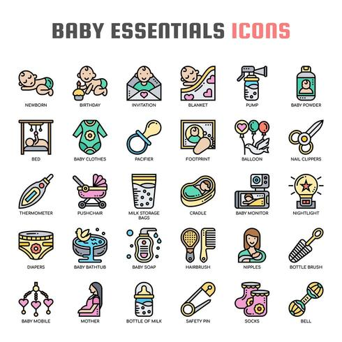 Baby Essentials Thin Line Icons