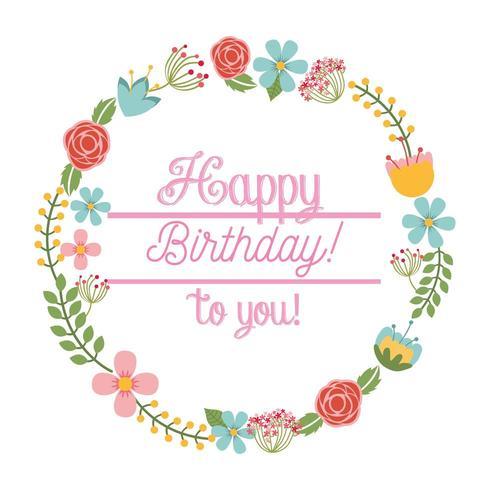 happy birthday card floral wreath
