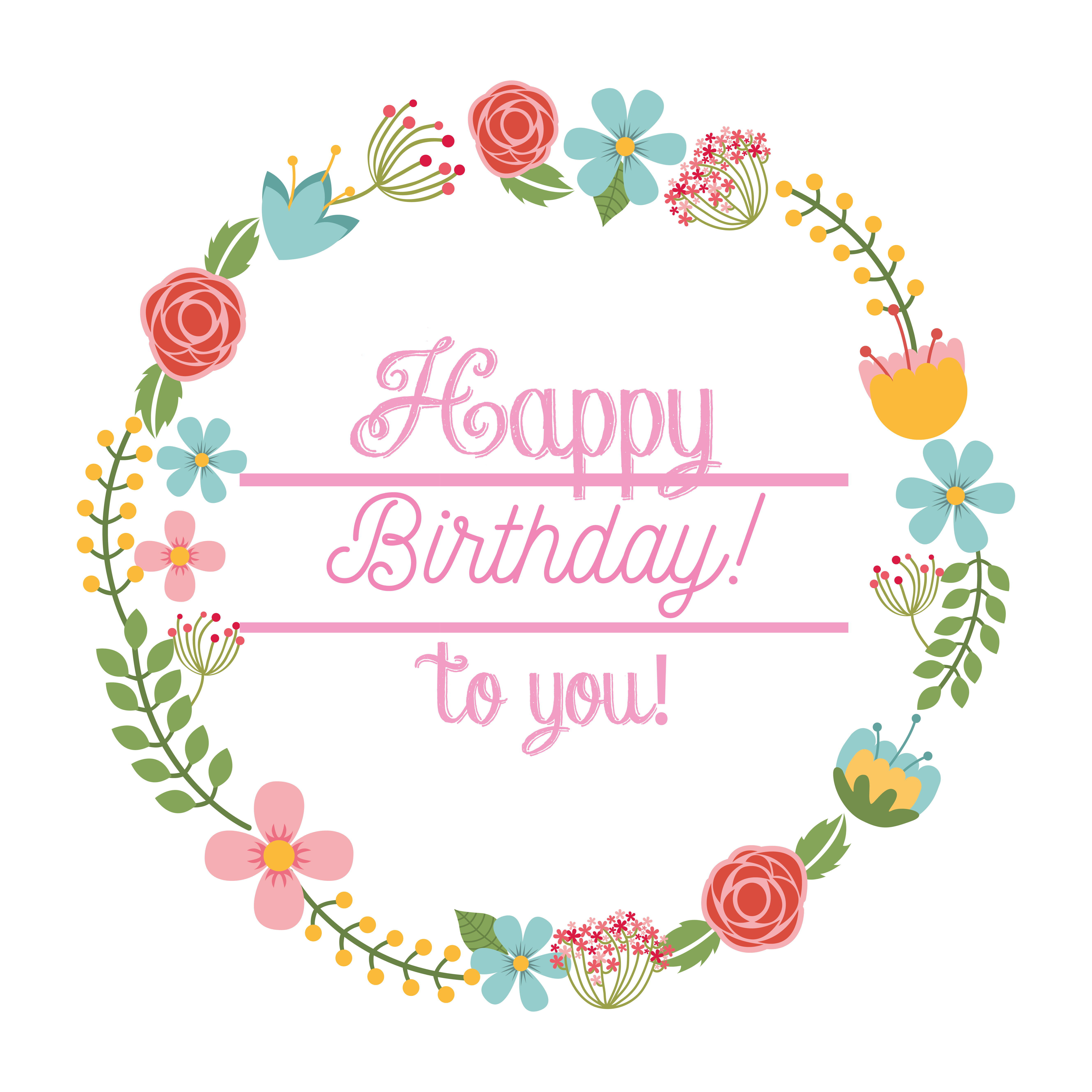 happy birthday card floral wreath 685790  download free