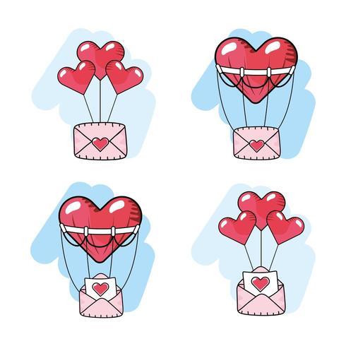 establecer globos de corazones con tarjetas de amor vector