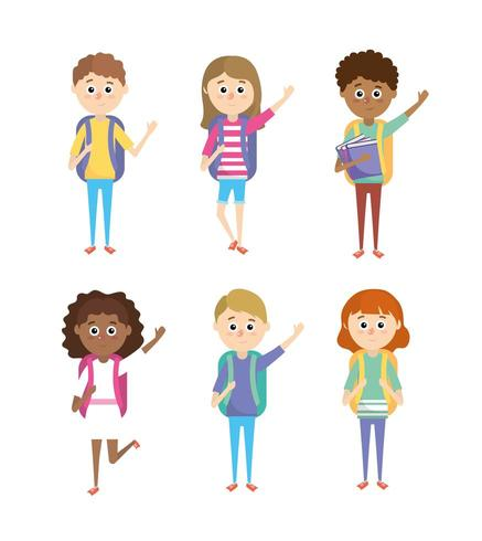 set girls and boys students with school utensils vector