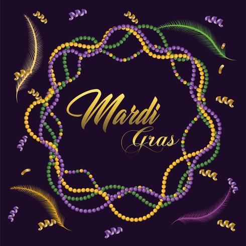 necklace decoration to mardi gras celebration vector