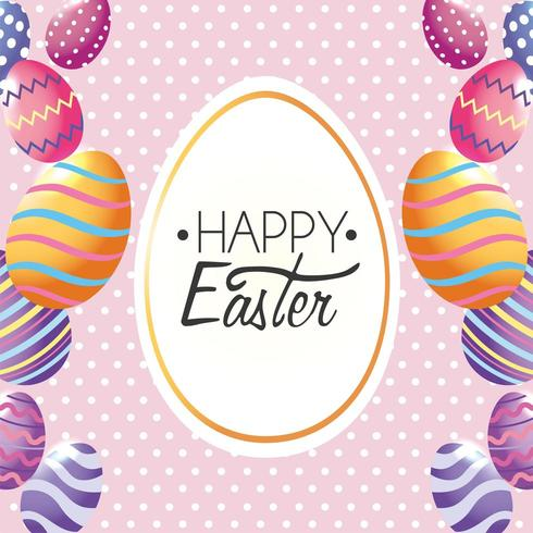 Happy Easter, label decoration with easter eggs to event