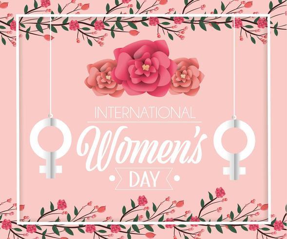 le donne firmano appendendo con le rose al giorno delle donne