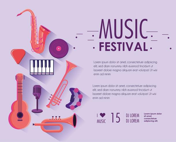 music festival with professional instruments to performance vector