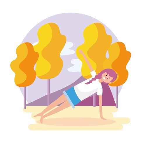 mujer ejercicio pose con árboles y montañas vector