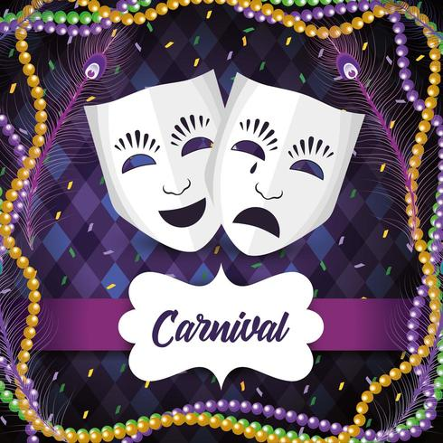 label with masks and necklace balls to Mardi gras