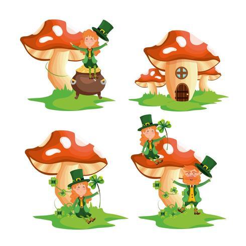 conjunto st patrick mulher e homem com casa de fungos
