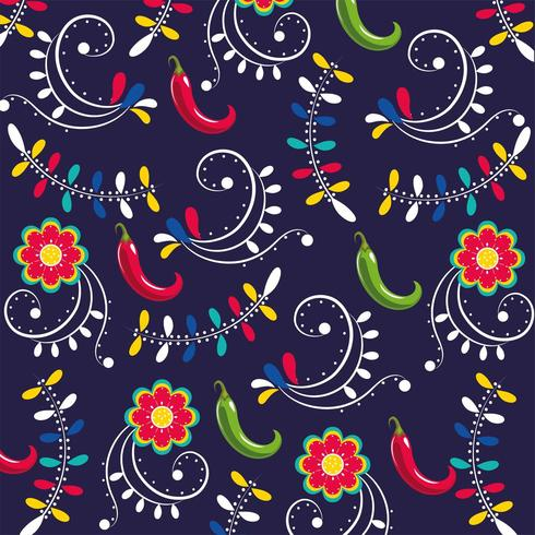 chili peppers with flowers pattern  vector