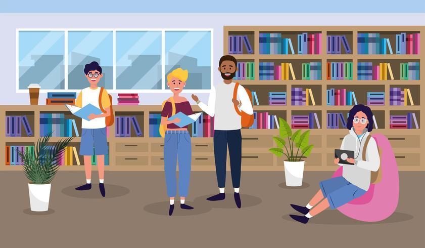 meninas e meninos na educação da biblioteca da universidade