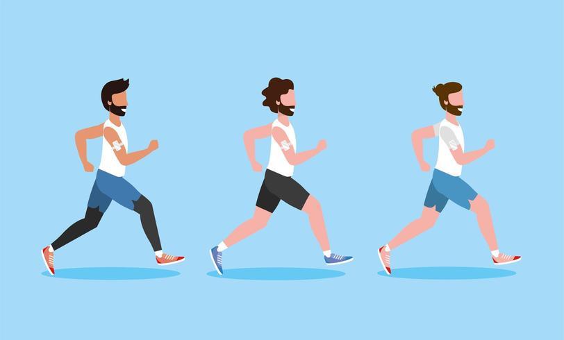 establecer hombres corriendo actividad de ejercicio vector