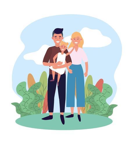 mujer y hombre pareja con su linda hija vector
