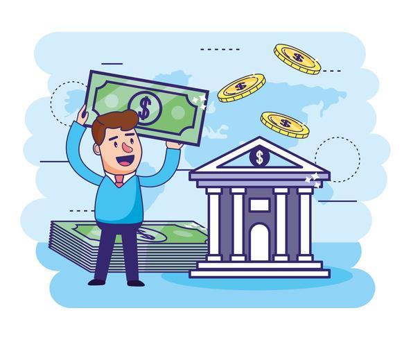 Mann mit Rechnungen und digitaler Bank mit Münzen