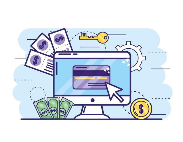 computador com cartão de crédito e chave para serviços bancários online