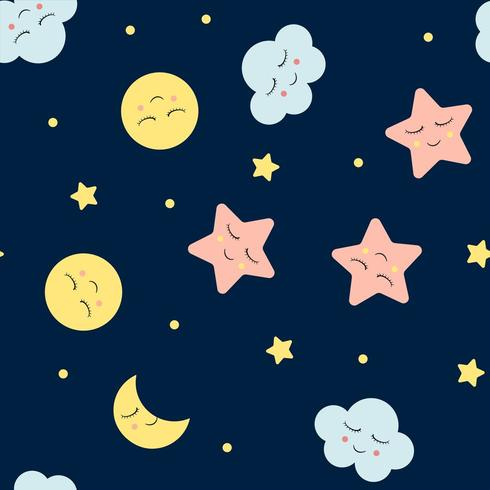 Seamless pattern with cute clouds, star and moons