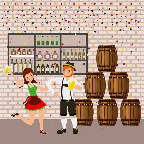 oktoberfest celebration with barrels, tavern and couple dancing and holding beers vector