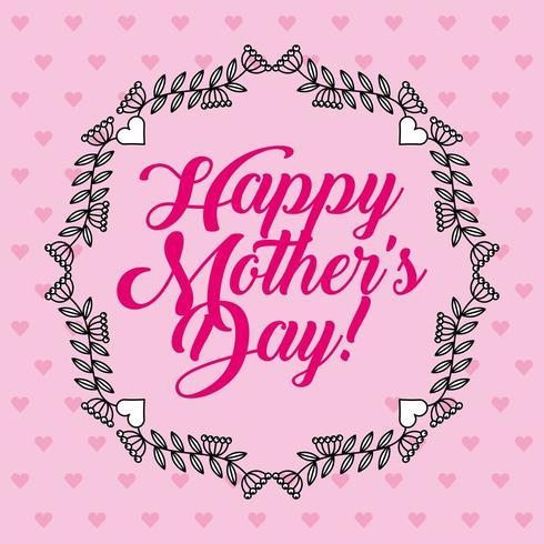 cartão de dia das mães com padrão de coração rosa e guirlanda floral