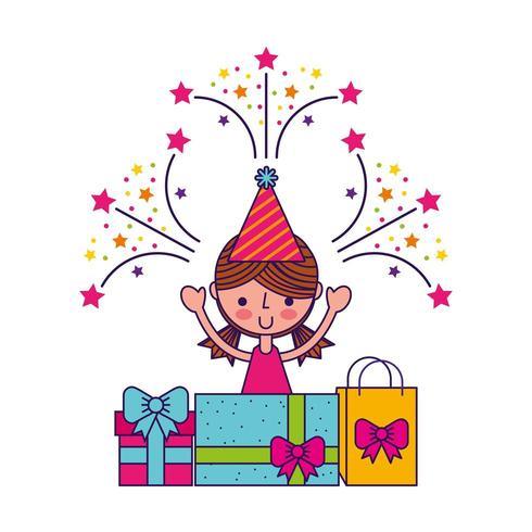 happy birthday card with little girl smiling, gift boxes and fireworks