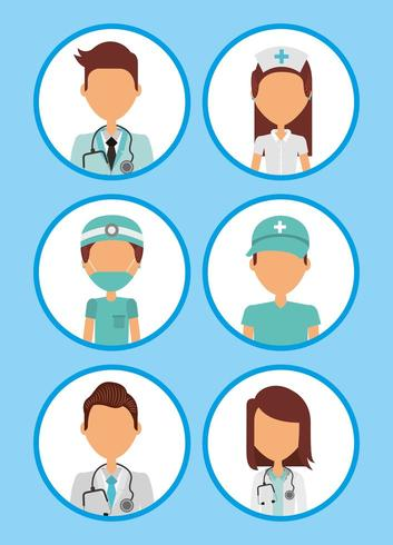 conjunto de avatar profesional de atención médica vector